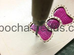 ピンクのウミヘビインレイのミニウォレット4