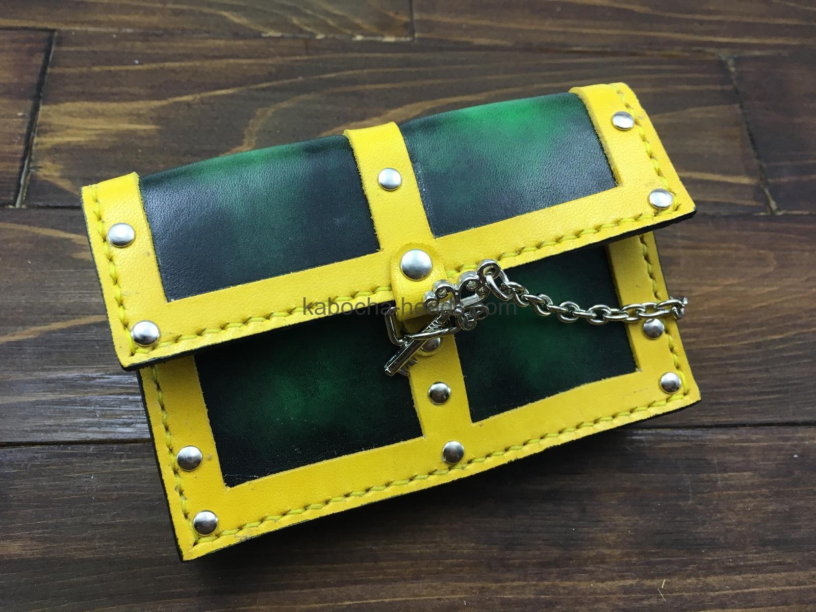 宝箱型鍵付き名刺入れグリーン