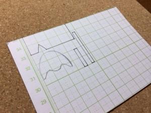 型紙のあたりを書く