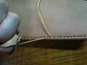 糸を菱目にかける1